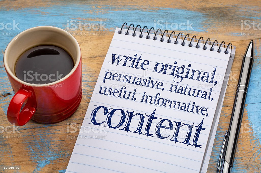 write original, useful, informative conctent stock photo