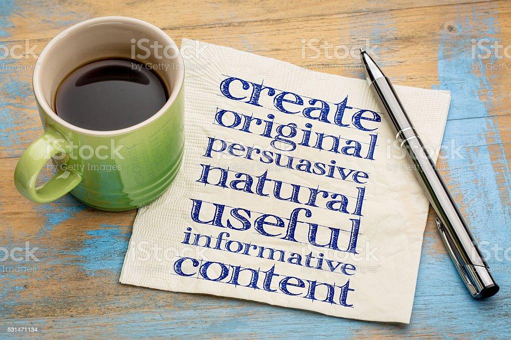 write original, useful, informative content stock photo