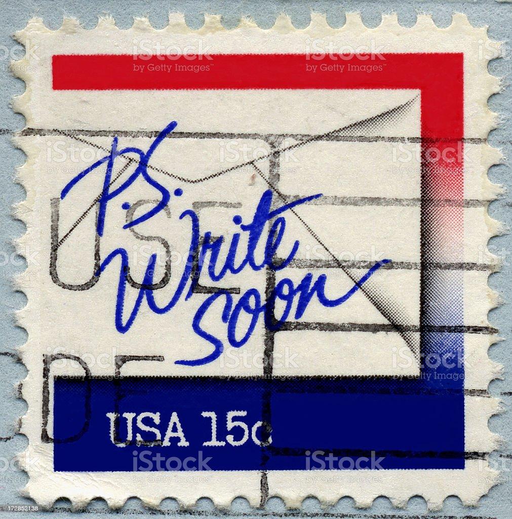 Write Soon Stamp royalty-free stock photo