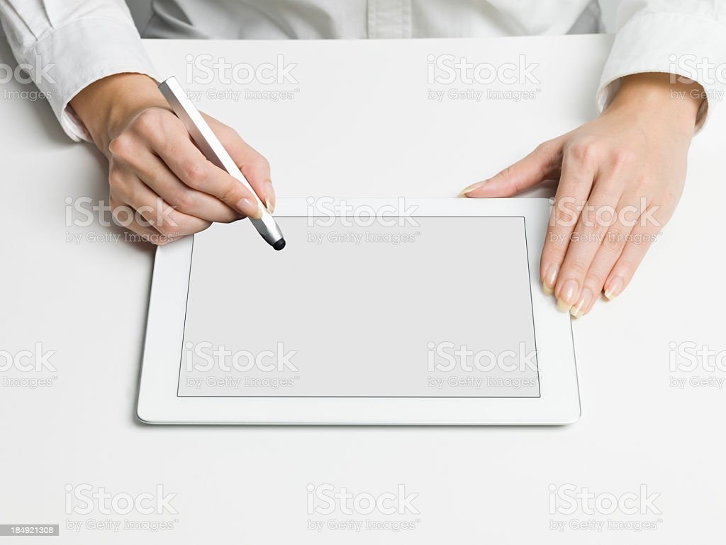 Write to the Tablet PC stock photo