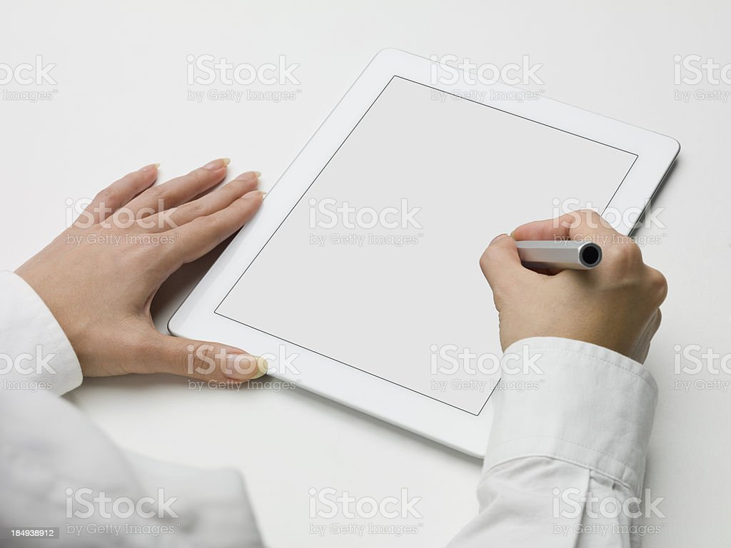 Write to the Tablet PC royalty-free stock photo