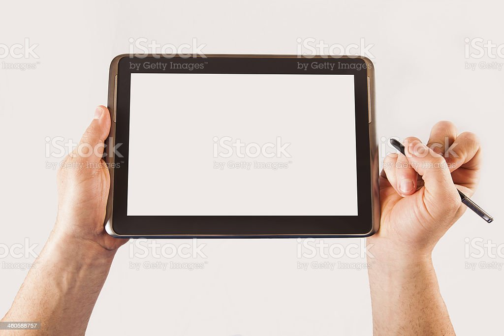 Write your own message on blank tablet stock photo