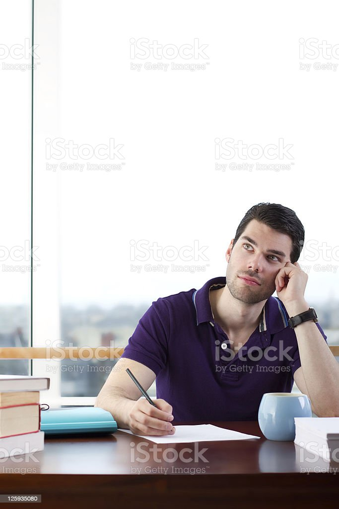 Writer looking for inspiration royalty-free stock photo