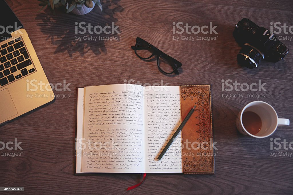 Writing a diary stock photo