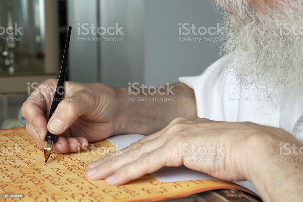 Writing a kesubah stock photo