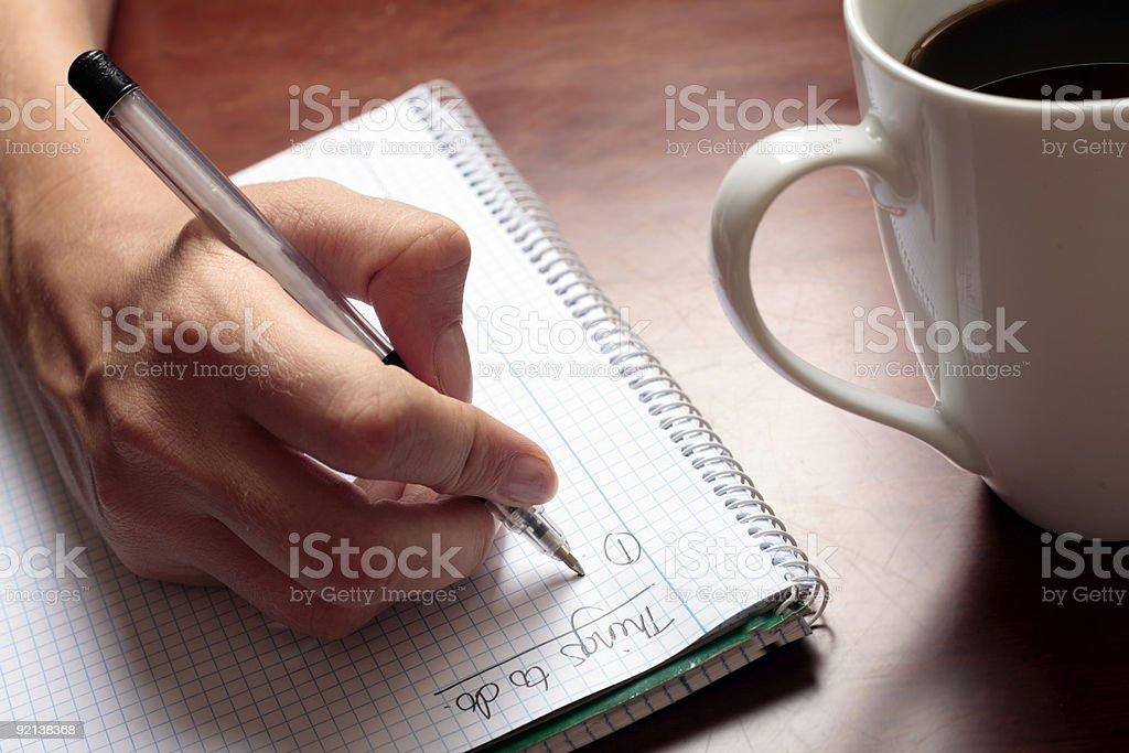 Writing a List stock photo