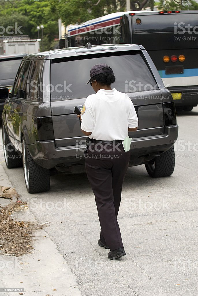 Writing a parking ticket stock photo