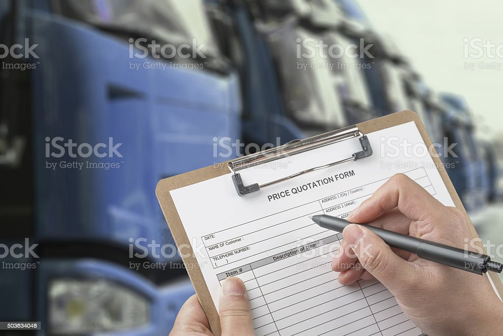 Writing a Quote for Car stock photo