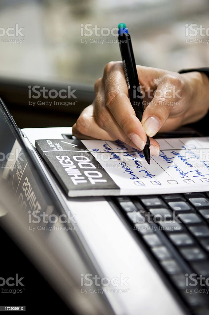 Writing a to do list royalty-free stock photo