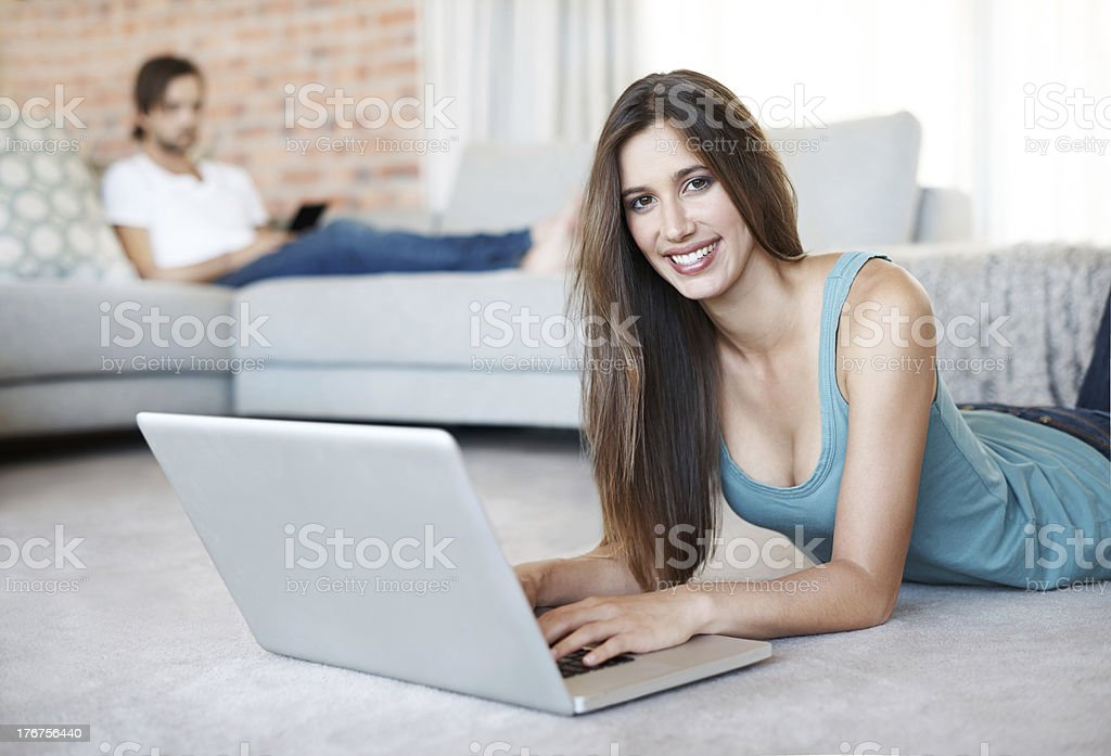 Writing an email to my friend royalty-free stock photo