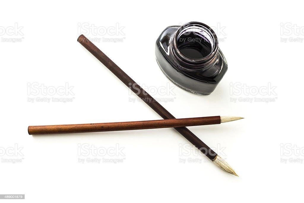Writing brush and ink royalty-free stock photo