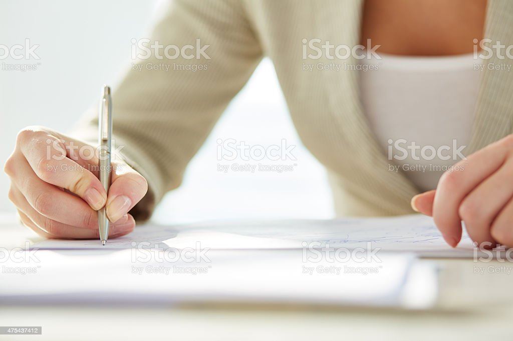 Writing business letter stock photo