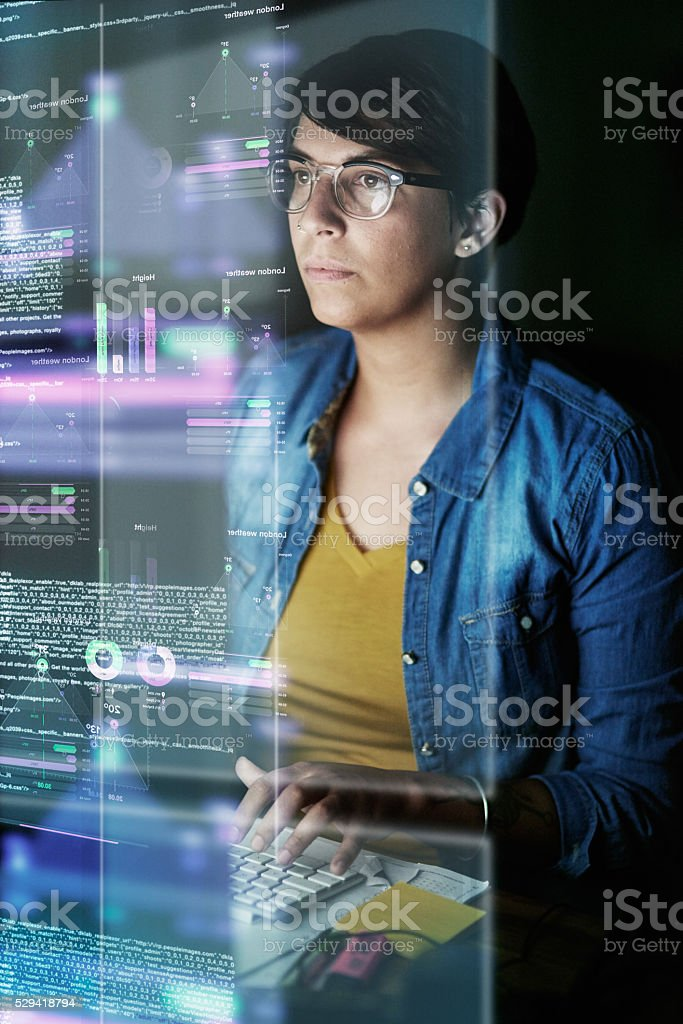 Writing code and developing software stock photo
