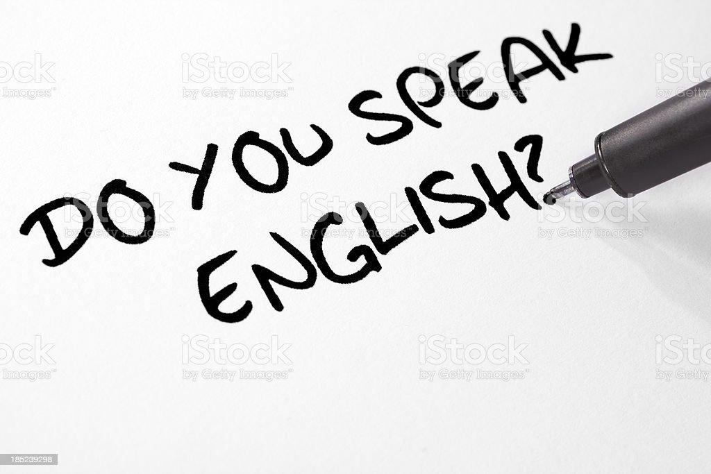 Writing Do You Speak English? stock photo