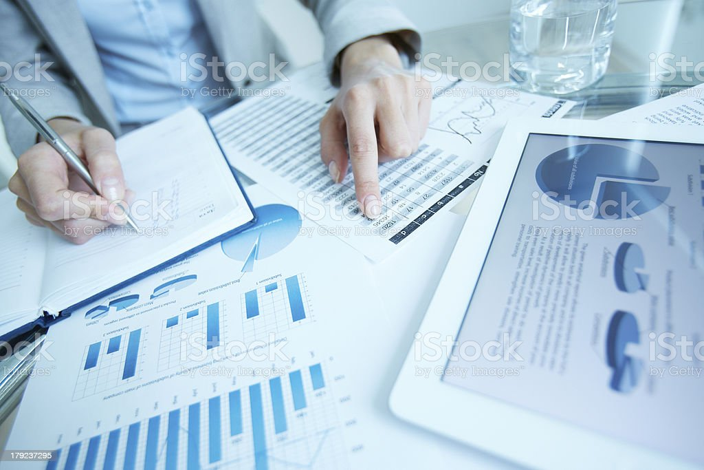Writing down data stock photo