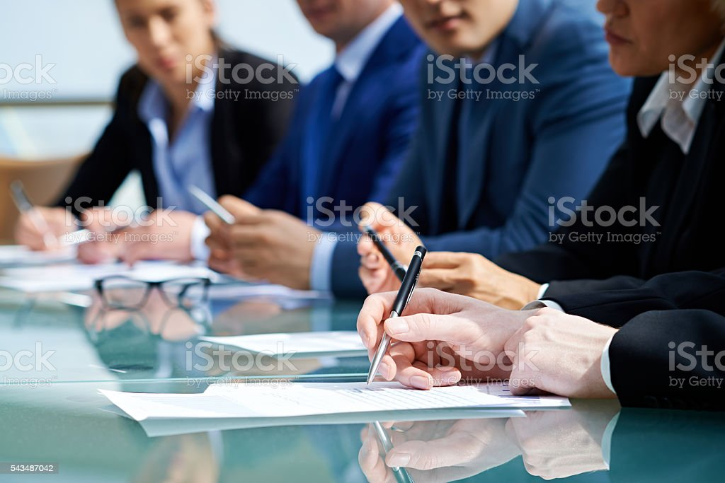 writing down points stock photo