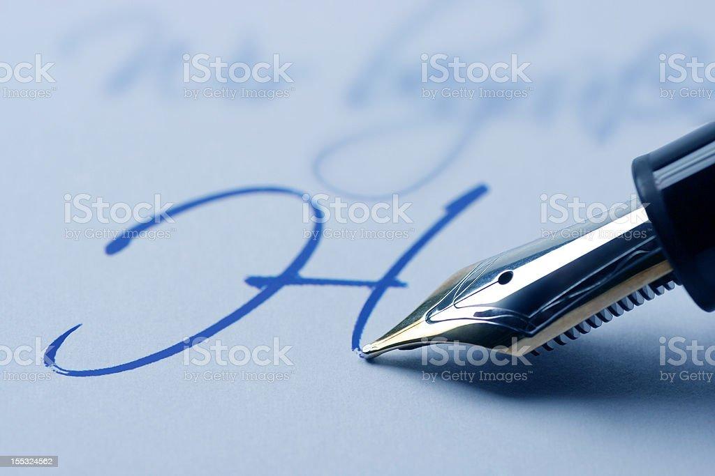 Writing fountain pen royalty-free stock photo