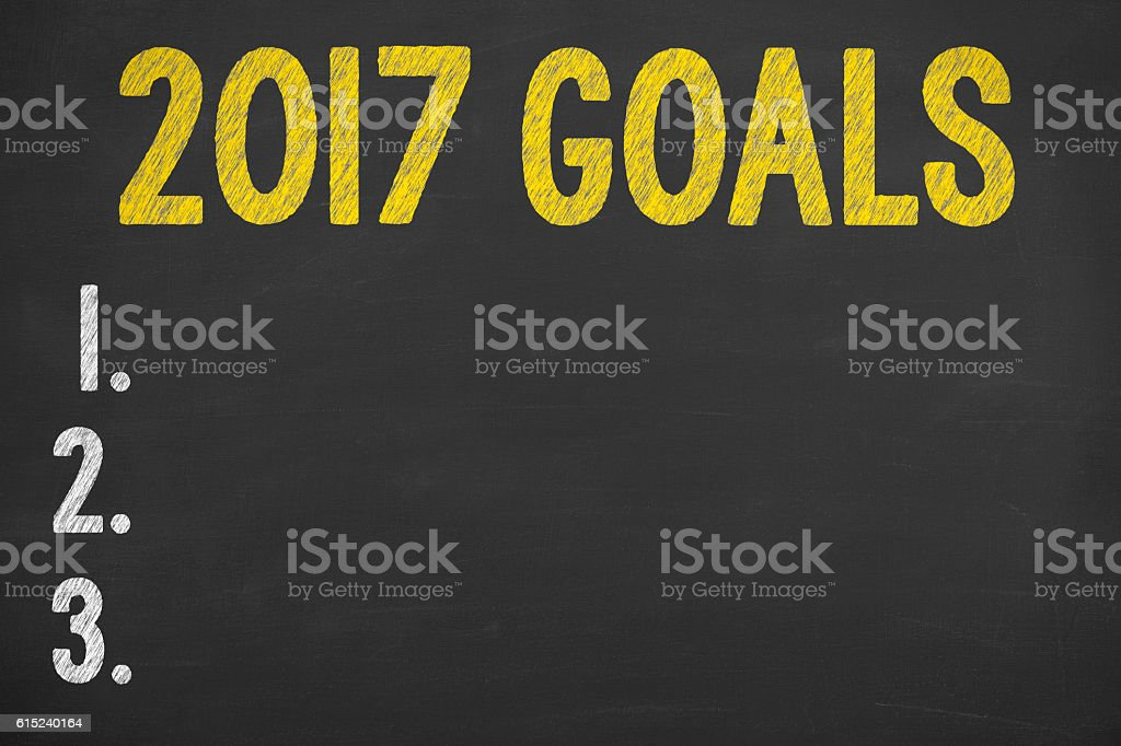 Writing Goals 2017 on Chalkboard stock photo