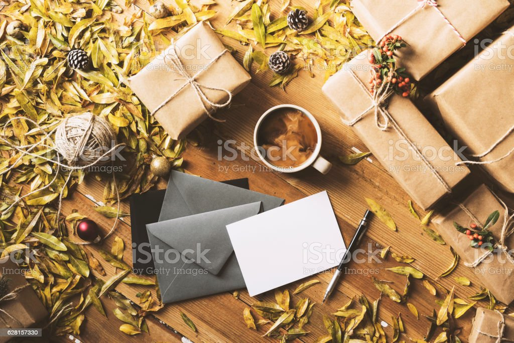 Writing greeting cards, New Year Christmas table top flat lay stock photo
