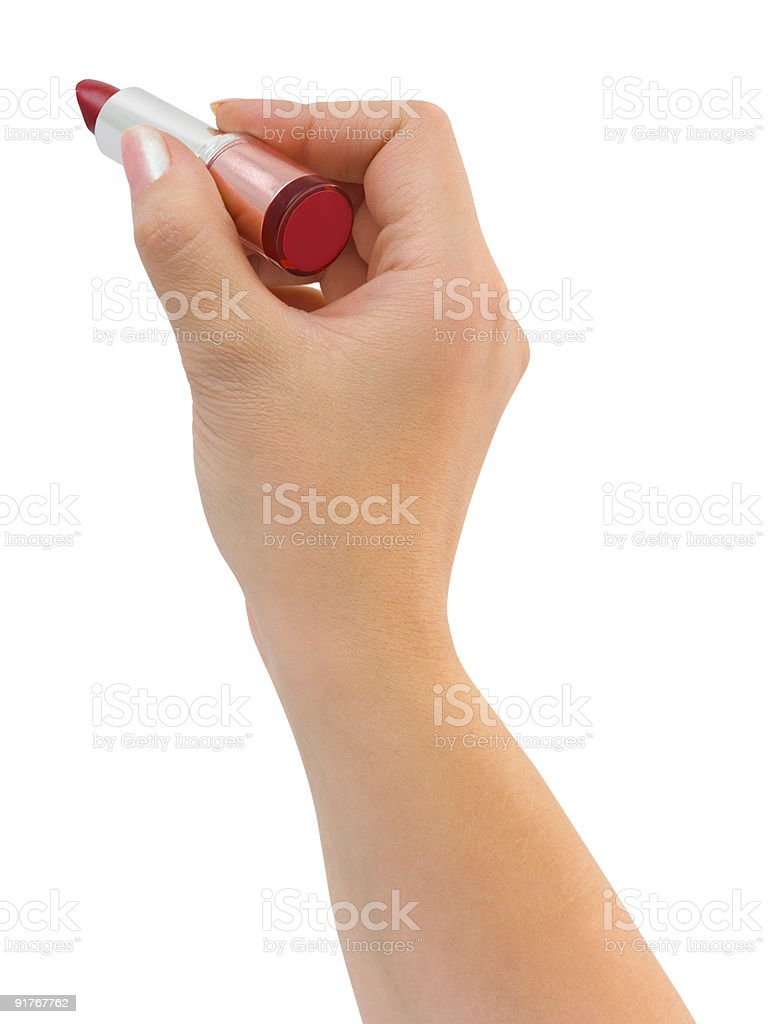 Writing hand with lipstick royalty-free stock photo