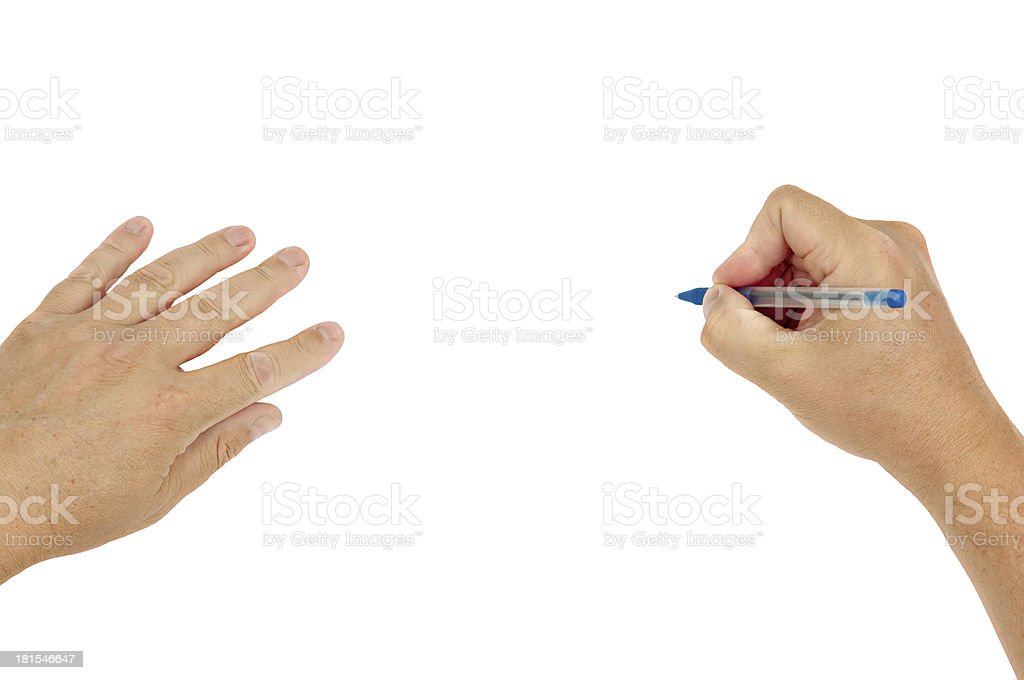 Writing hands with clipping path royalty-free stock photo