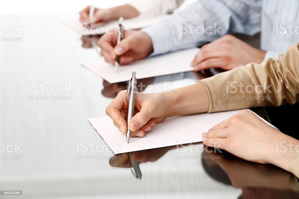 Writing human hands stock photo