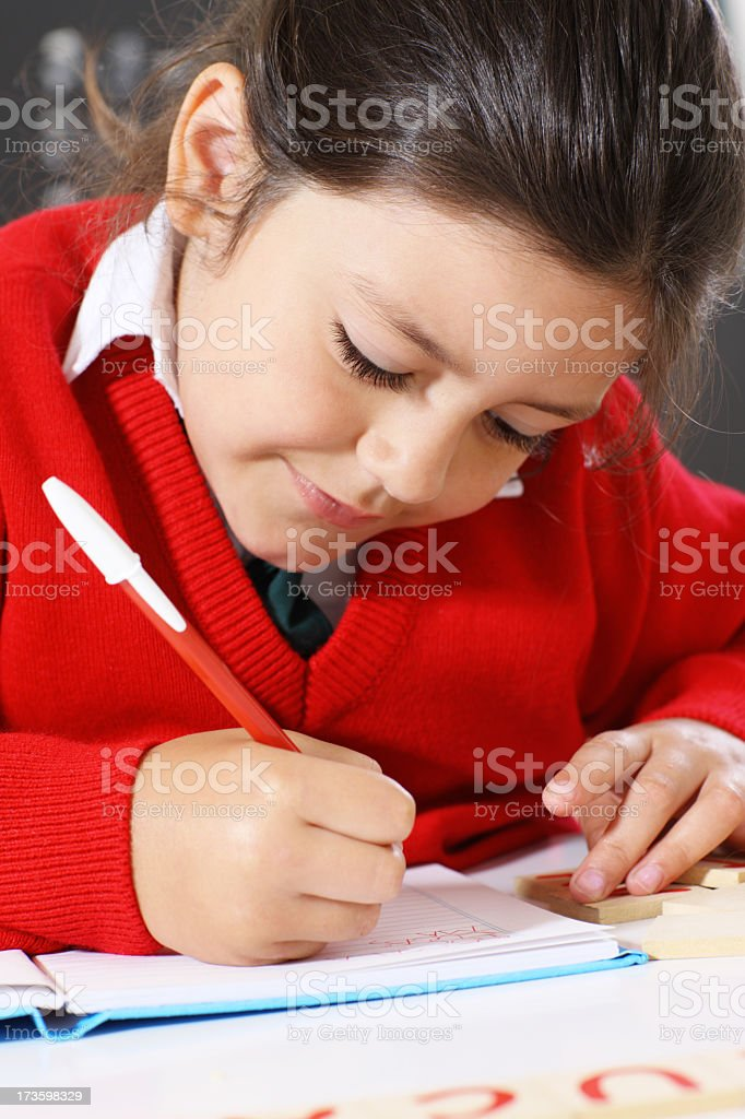 writing  in a classroom royalty-free stock photo
