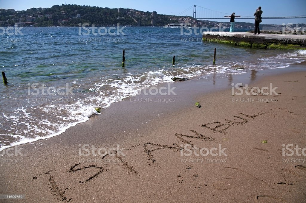 Writing Istanbul At The Sands and Bosphorus royalty-free stock photo