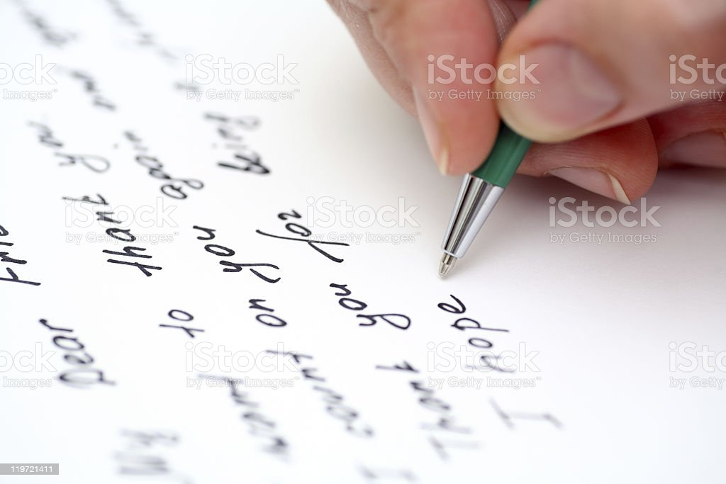 Writing letter to a friend. stock photo