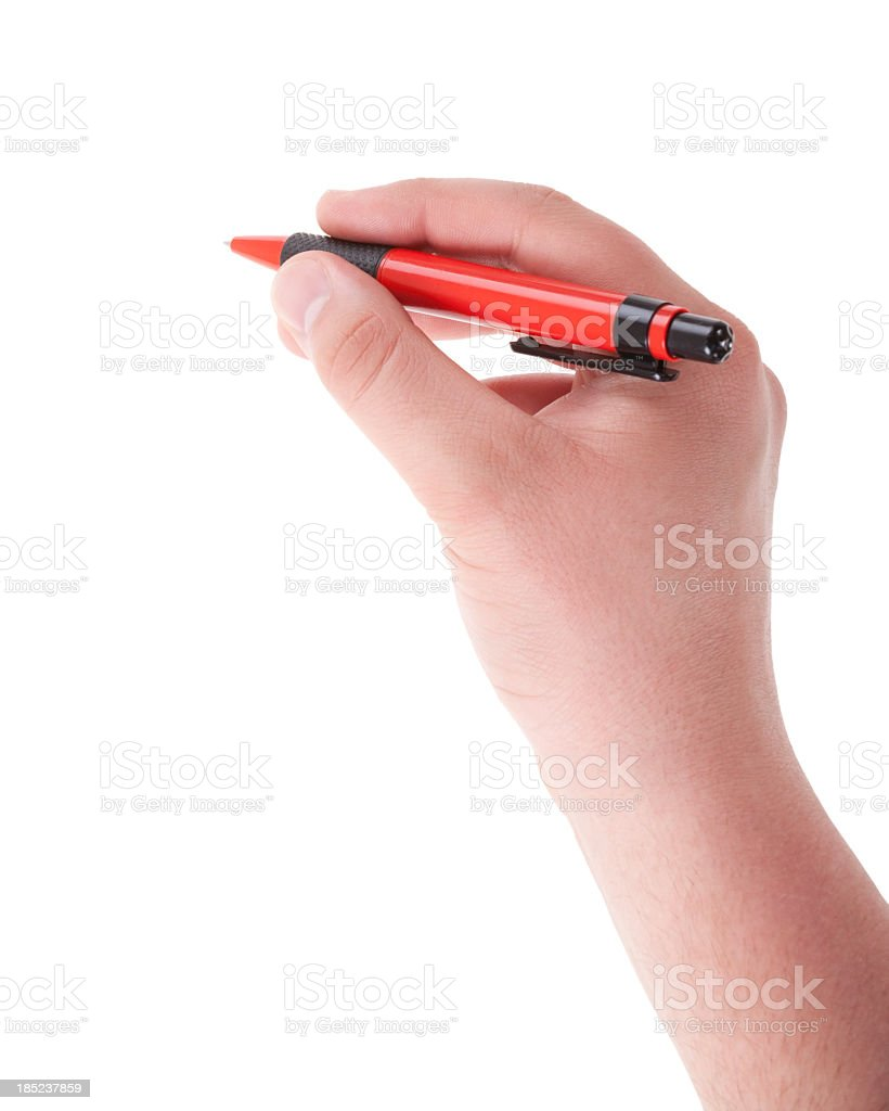 Writing male hand with red pen on white royalty-free stock photo