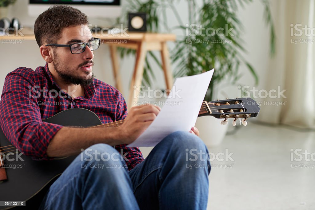 Writing music composition stock photo