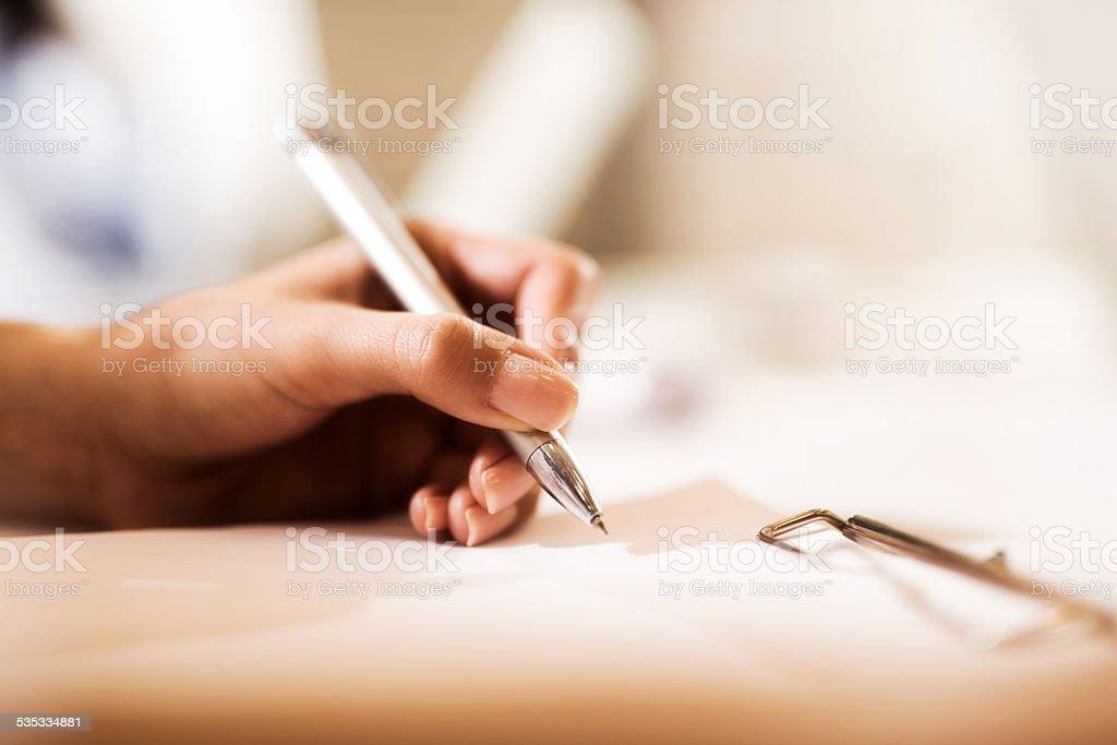 Writing notes. stock photo