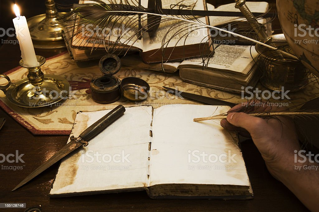 Writing old tales royalty-free stock photo