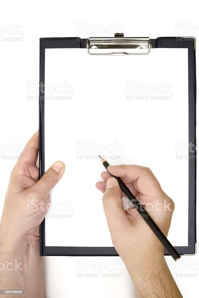 Writing on a Blank Clipboard stock photo