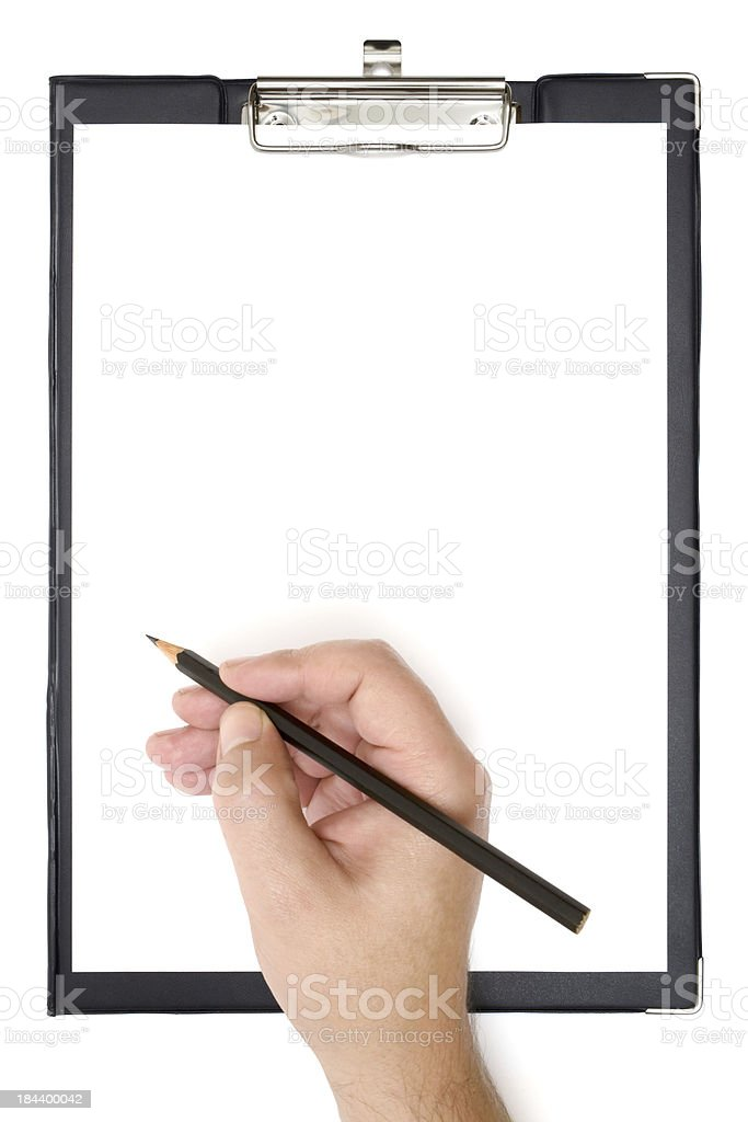 Writing on a Clipboard stock photo