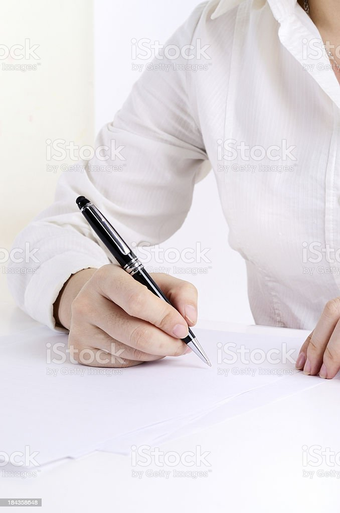 Writing on a form royalty-free stock photo