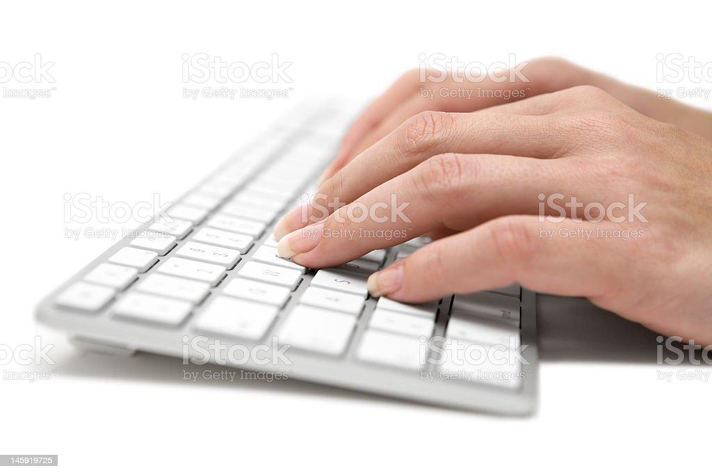 Writing on a Grey Keyboard royalty-free stock photo