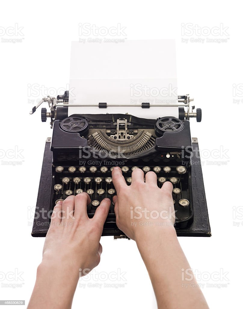 Writing on a vintage typewriter royalty-free stock photo