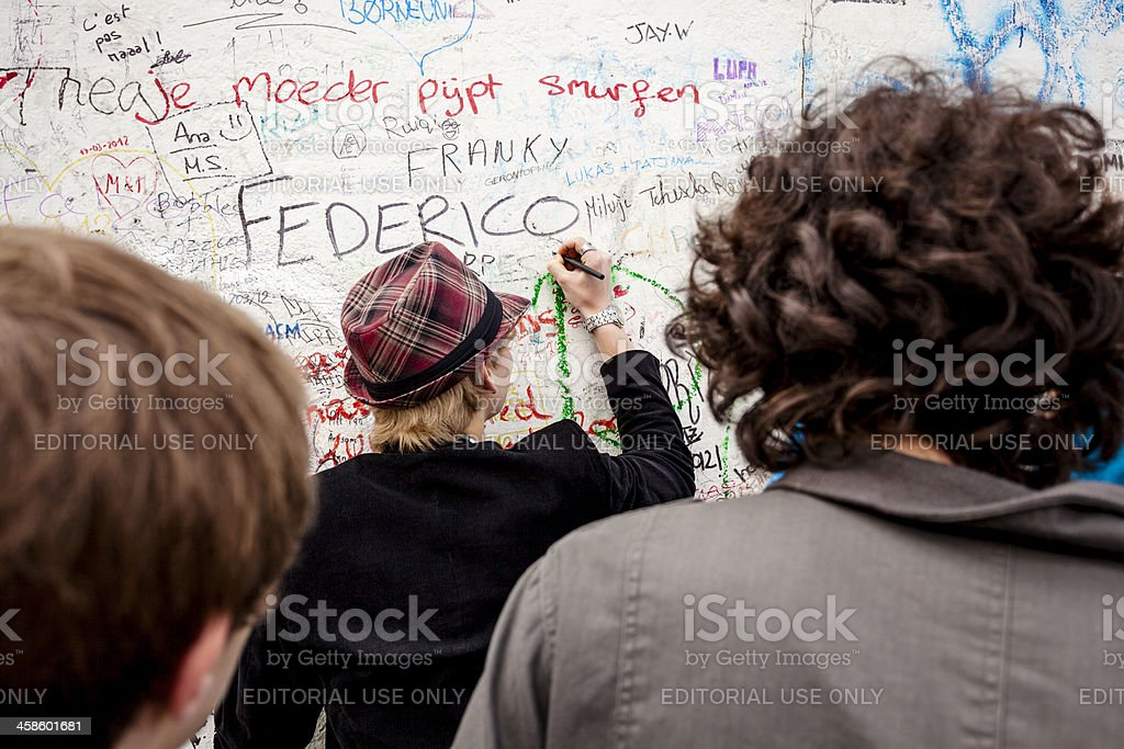 Writing on a wall stock photo