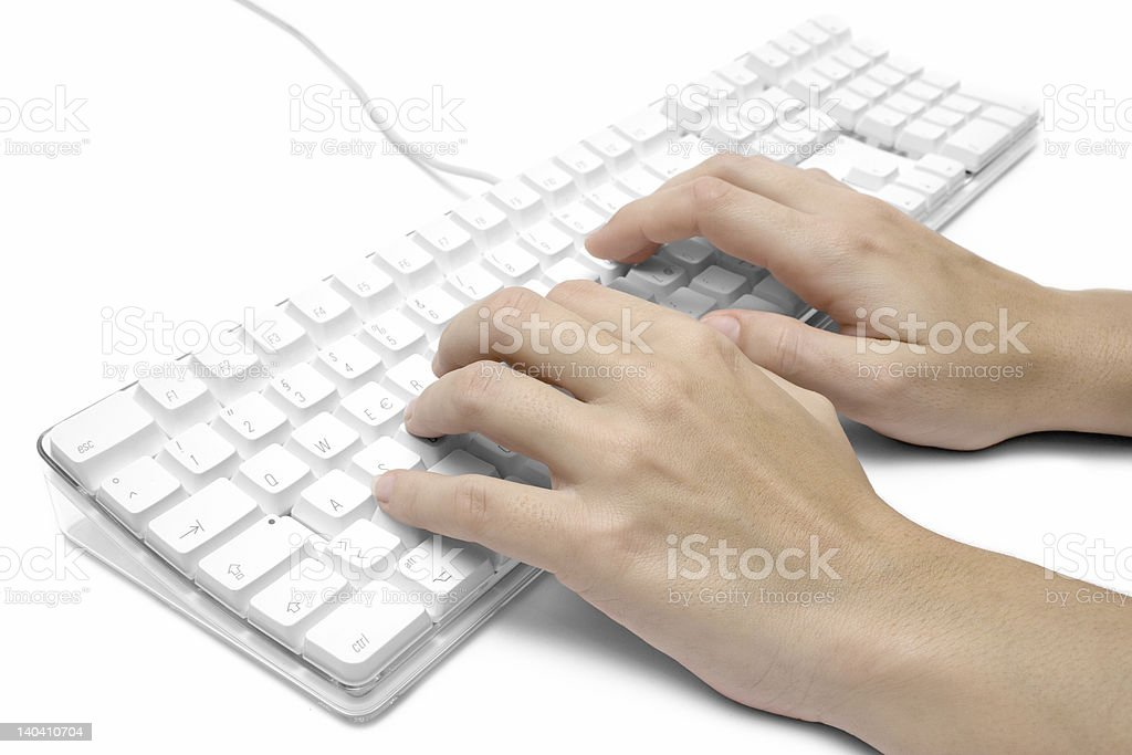 Writing on a White Computer Keyboard stock photo