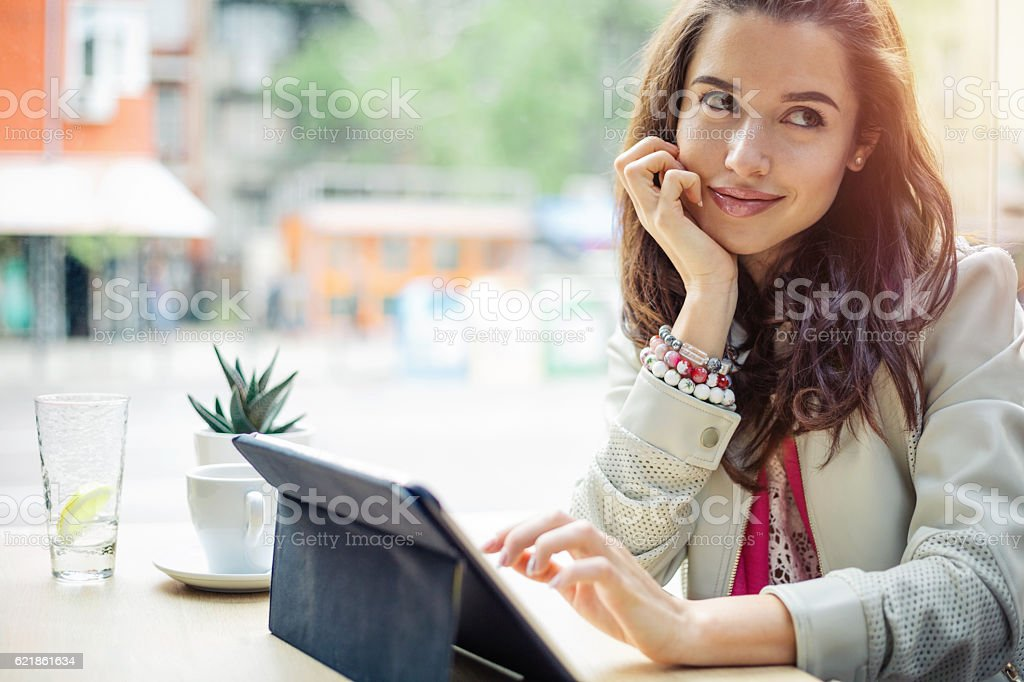 Writing on tablet stock photo