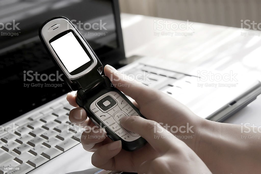 Writing phone message royalty-free stock photo