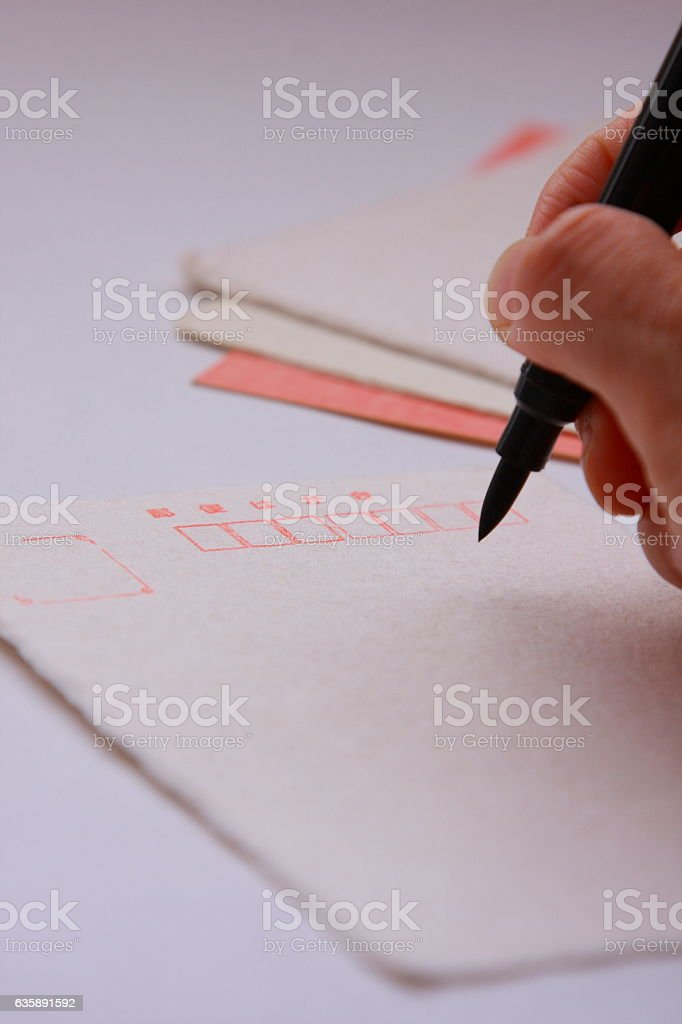 Writing postcard of  Japanese handmade paper Washi by brush stock photo