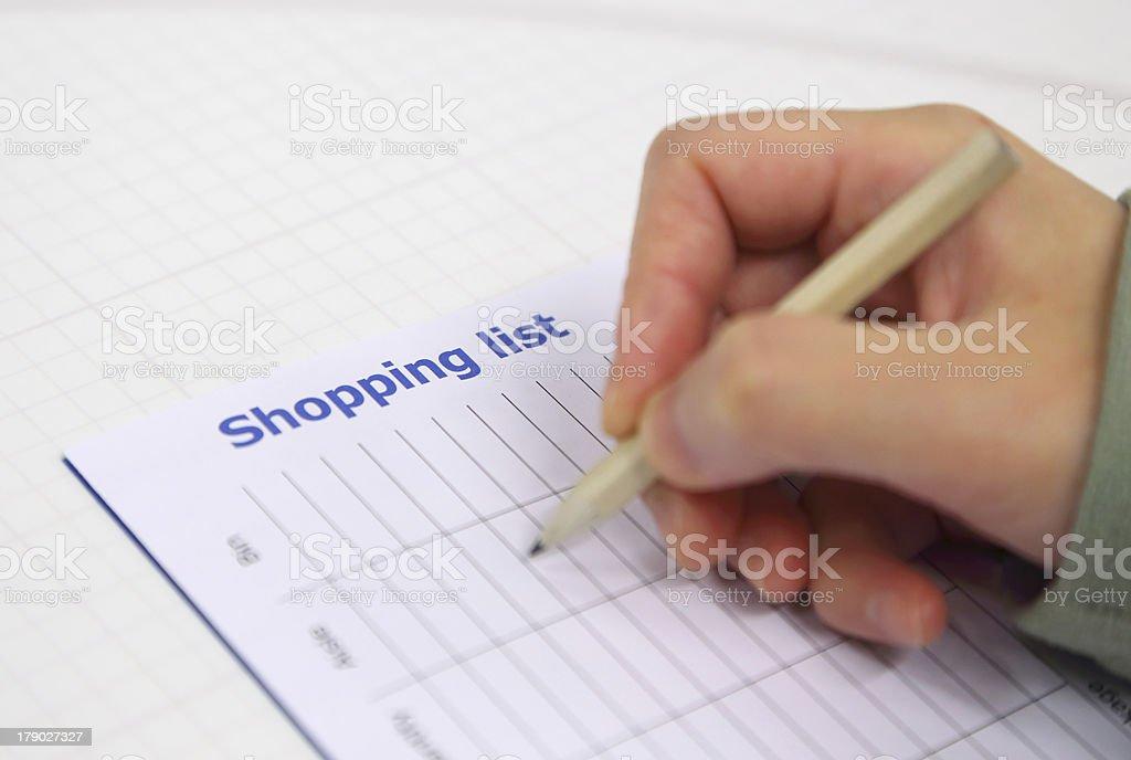 Writing shopping list royalty-free stock photo