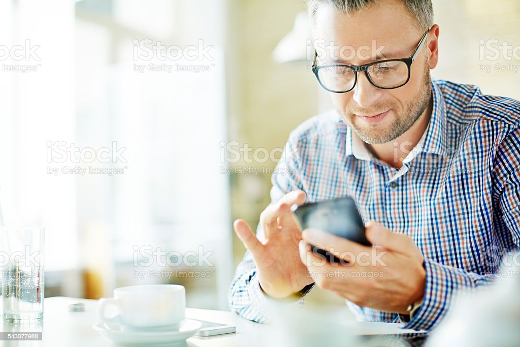 Writing sms stock photo