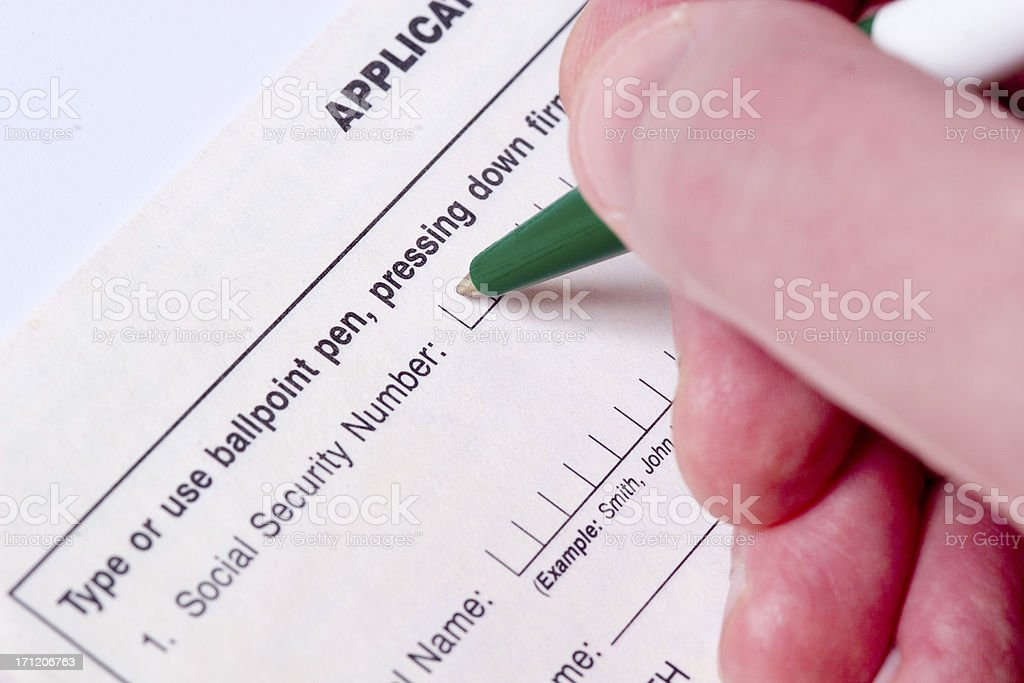 Writing SSN royalty-free stock photo