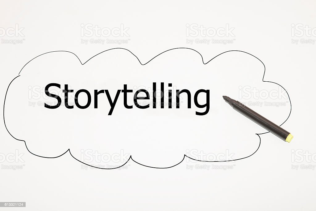 writing Storytelling with black marker vector art illustration