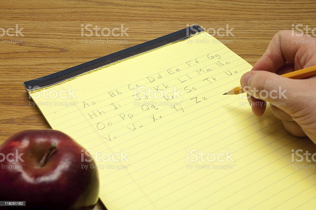 Writing The Alphabet royalty-free stock photo