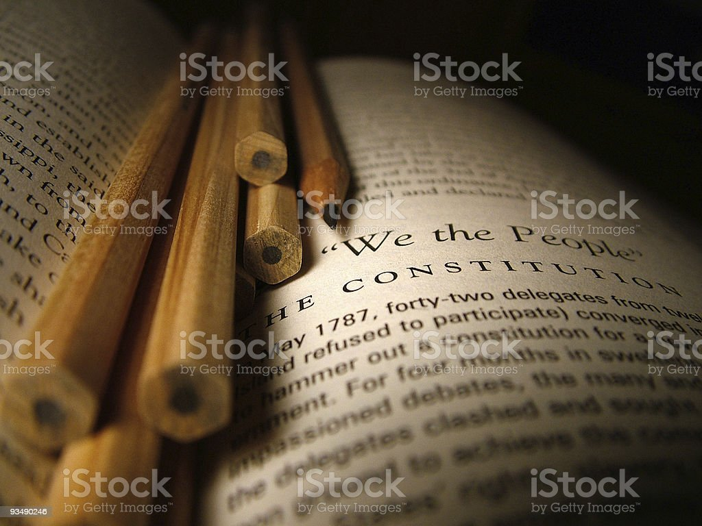 Writing the Constitution stock photo