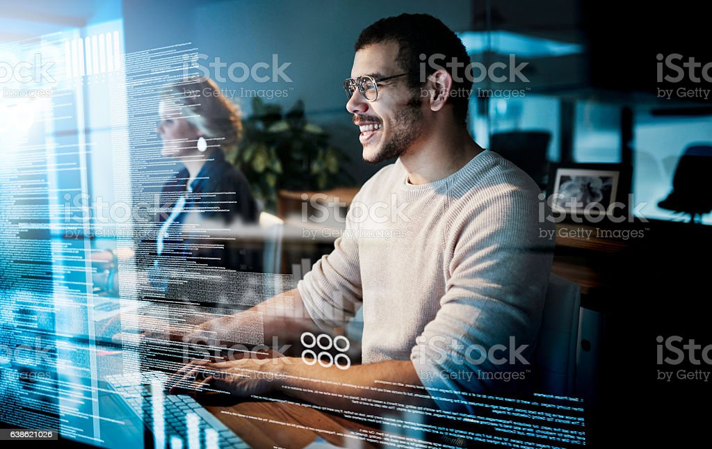 Writing the perfect code stock photo